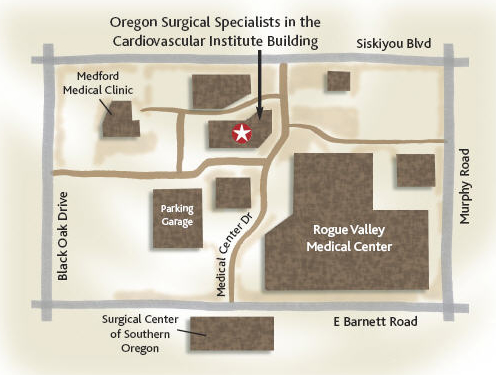 Oregon Surgical Specialists Map of Vascular Lab Location